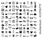 sport and fitness 100 icon set | Shutterstock .eps vector #411596779