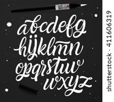 vector set with handwritten abc ... | Shutterstock .eps vector #411606319