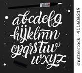 vector set with handwritten abc ... | Shutterstock .eps vector #411606319
