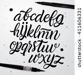 vector hand drawn alphabet.... | Shutterstock .eps vector #411606331