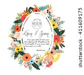 flower with typography design... | Shutterstock .eps vector #411609175