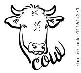 Cow. Logo. Cartoon. Hand...