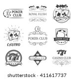 vintage poker label. filigree... | Shutterstock .eps vector #411617737