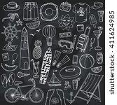 summer vacation doodles.vector...   Shutterstock .eps vector #411624985
