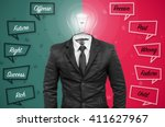 suit with idea bulb head on... | Shutterstock . vector #411627967