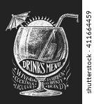 vector drinks menu on blackboard | Shutterstock .eps vector #411664459