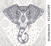 beautiful bohemian elephant... | Shutterstock .eps vector #411665389