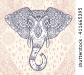 beautiful bohemian elephant... | Shutterstock .eps vector #411665395