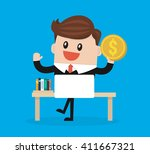 businessman holds in hand money ... | Shutterstock .eps vector #411667321