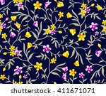 seamless watercolor floral... | Shutterstock .eps vector #411671071
