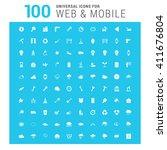 vector white 100 universal web... | Shutterstock .eps vector #411676804