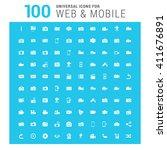 vector white 100 universal web... | Shutterstock .eps vector #411676891