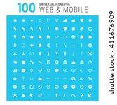 vector white 100 universal web... | Shutterstock .eps vector #411676909