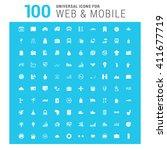vector white 100 universal web... | Shutterstock .eps vector #411677719