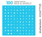 vector white 100 universal web... | Shutterstock .eps vector #411677725