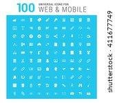 vector white 100 universal web... | Shutterstock .eps vector #411677749