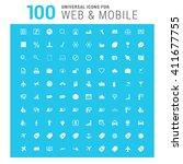 vector white 100 universal web... | Shutterstock .eps vector #411677755