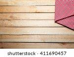 Checkered Napkin On Wooden...
