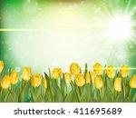 beautiful tulips on green bokeh ... | Shutterstock .eps vector #411695689