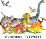 dinosaur. hand drawn watercolor ... | Shutterstock . vector #411696565