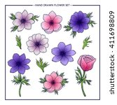 flower set of pink and lilac... | Shutterstock .eps vector #411698809