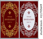 wedding invitation or card with ... | Shutterstock .eps vector #411705649