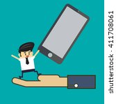 business man lift up  smart... | Shutterstock .eps vector #411708061