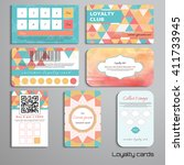 set of loyalty cards with... | Shutterstock .eps vector #411733945