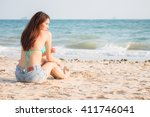 sexy girl with bikini and jeans ... | Shutterstock . vector #411746041