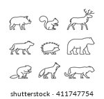 Vector Line Icon Forest Animal...