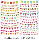 colorful birthday and party... | Shutterstock .eps vector #411751165