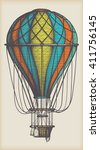 Retro Colored Hot Air Balloon...
