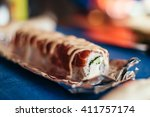 cooking sushi roll. how to... | Shutterstock . vector #411757174