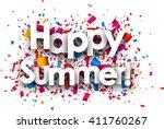 happy summer paper background... | Shutterstock .eps vector #411760267