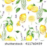hand drawn watercolor seamless... | Shutterstock . vector #411760459