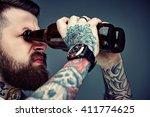 bearded hipster man holding... | Shutterstock . vector #411774625