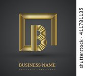 letter b logo in a square. gold ...