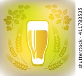stylized beer glass on a gray... | Shutterstock . vector #411783535