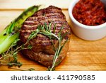 beautiful juicy well done steak ... | Shutterstock . vector #411790585