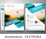 Brochure design template vector. Flyers report business magazine. Cover book portfolio presentation and abstract blue shape on poster. City in A4 layout. | Shutterstock vector #411795361