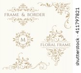 set of decorative  borders and... | Shutterstock .eps vector #411797821