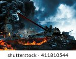 three tanks in the conflict... | Shutterstock . vector #411810544