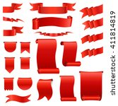 big set  of realistic silk red... | Shutterstock .eps vector #411814819