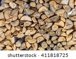 Chopped Brown Firewood  Stacke...