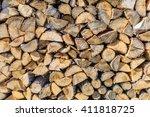 Chopped Brown Firewood  Stacke...