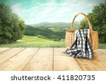 Rural Landscape And Basket And...