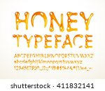 vector honey typeface | Shutterstock .eps vector #411832141