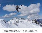 snowboard rider jumping on... | Shutterstock . vector #411833071