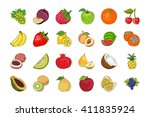 vegetable and fruits hand drawn ... | Shutterstock .eps vector #411835924