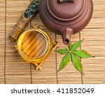 Chinese Clay Teapot With Green...
